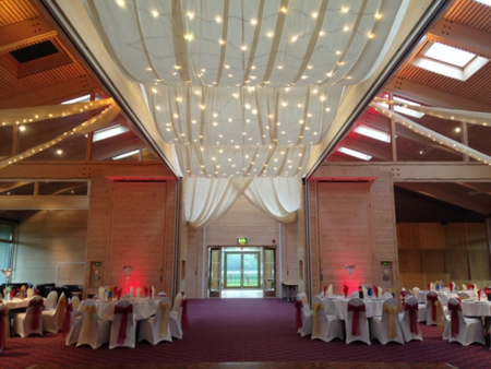 decorated ceiling at wedding venue
